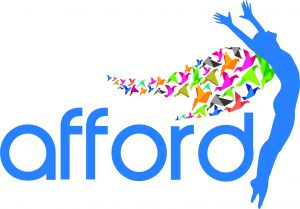 afford (disability service provider) logo featuring a silhouette of a woman with colourful wings and the service name, that is, afford